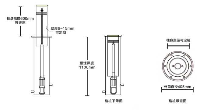 全自动升降柱外观尺寸图