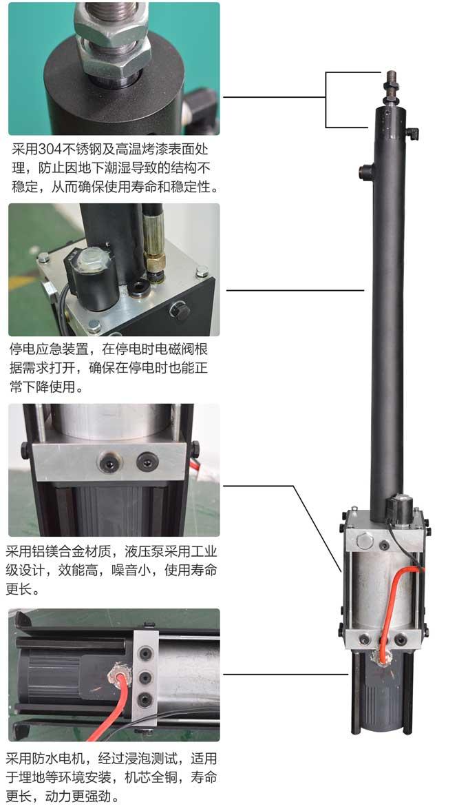 全自动液压升降柱机芯细节图